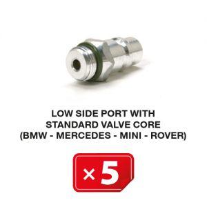 R-134a Valve de service Basse Pression mécanisme valve standard (BMW-Mercedes-Mini-Rover) (lot de 5 pcs.)