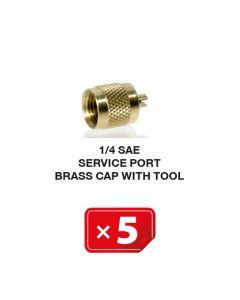 Bouchon de valve de service en laiton avec embout 1/4 SAE (lot de 5 pcs)