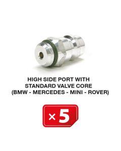 R-134a Valve de service Haute Pression mécanisme valve standard (BMW-Mercedes-Mini-Rover) (lot de 5 pcs.)