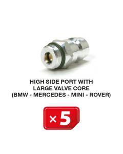 R-134a Valve de service Haute Pression mécanisme valve avec diamètre large (BMW-Mercedes-Mini-Rover) (lot de 5 pcs.)