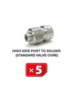 R-134a Valve de service Haute Pression à souder, mécanisme valve standard ( lot de 5 pcs)