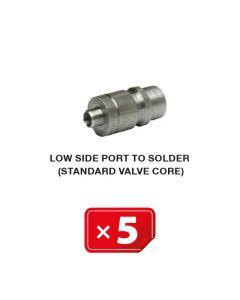R-134a Valve de service Basse Pression à souder, mécanisme valve standard ( lot de 5 pcs)